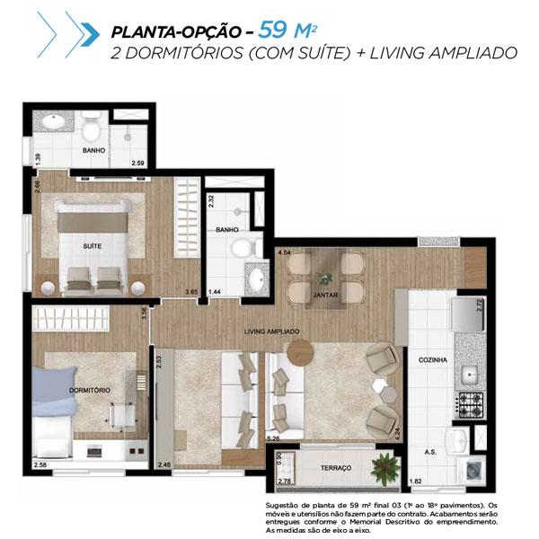 Planta opção sala ampliada de 59m² priv.