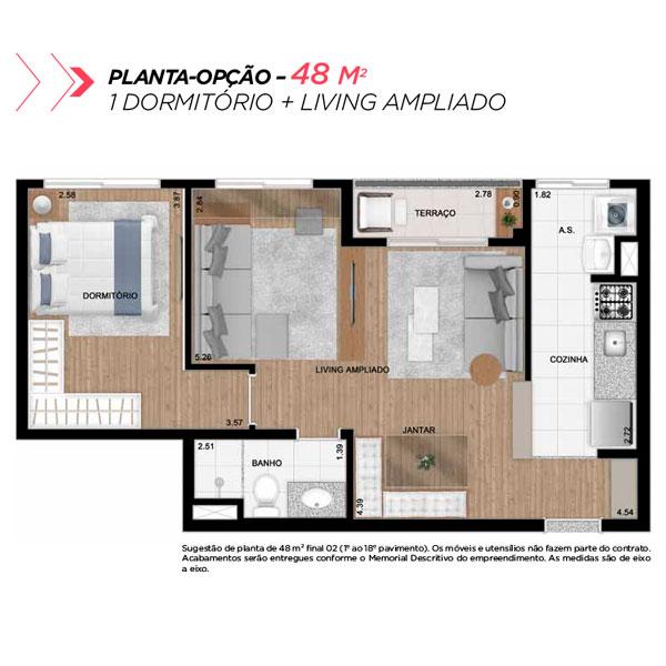 Planta opção sala ampliada de 48m² priv.