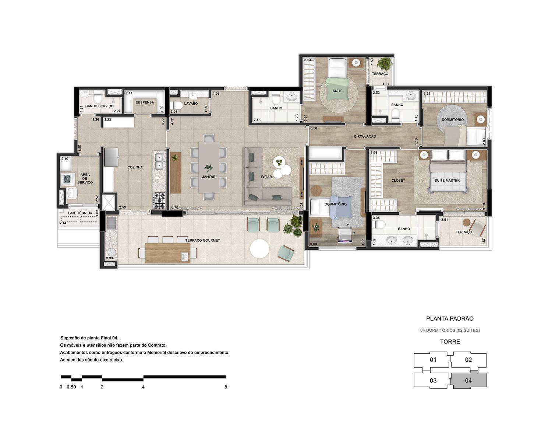 4 dormitórios (2 suítes)