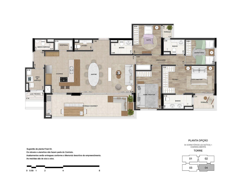 4 dormitórios (2 suítes) com cozinha aberta