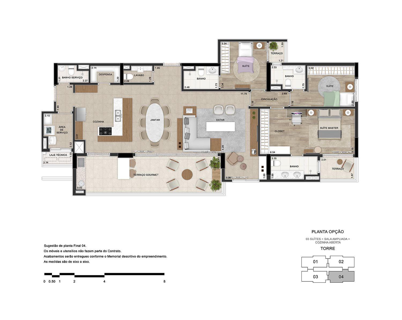 3 suítes com sala e cozinha ampliada