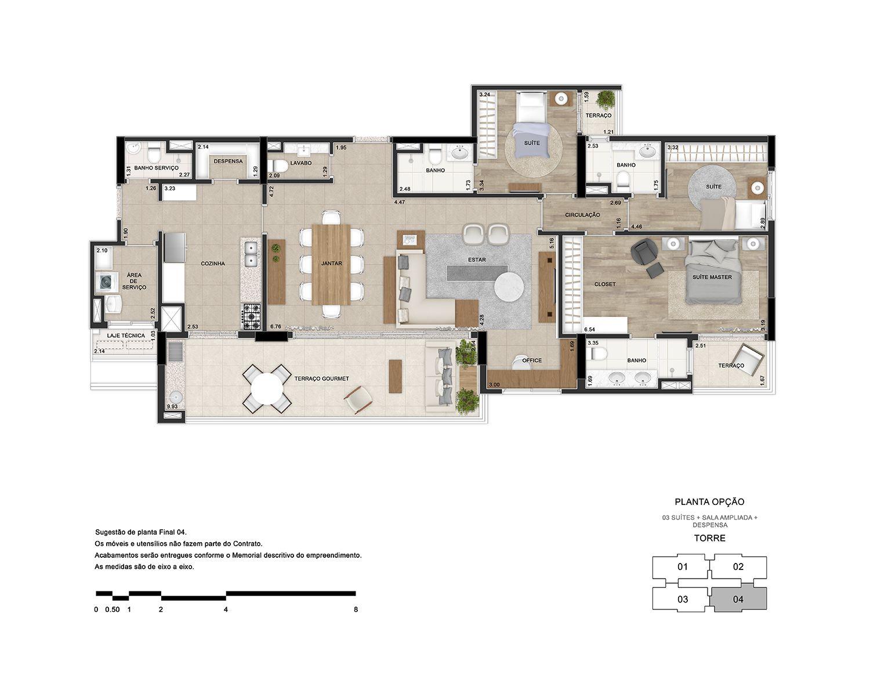 3 suítes com sala ampliada e despensa
