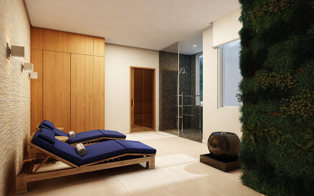 Perspectiva artística da Sauna com Descanso.
