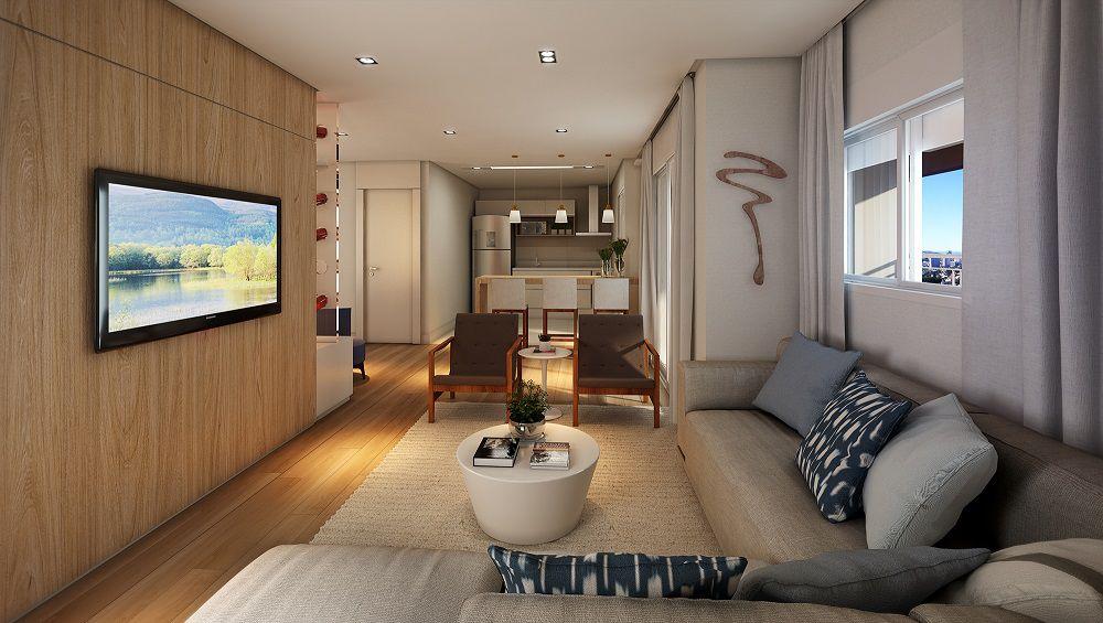 Perspectiva artística do Living Ampliado – ref. ao apartamento de 79m2 privativos.