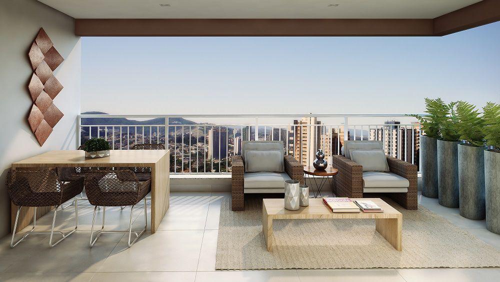Perspectiva artística do Terraço - ref. ao apartamento de 79m2 privativos. A paisagem não corresponde à realidade.
