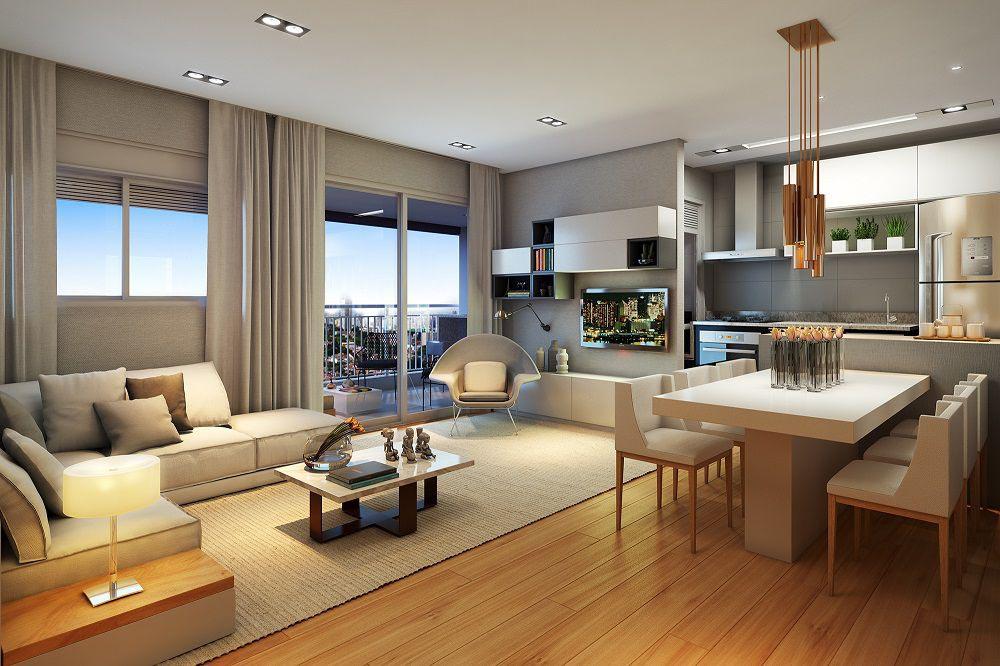 Perspectiva artística do Living Ampliado – ref. ao apartamento de 62m2 privativos.