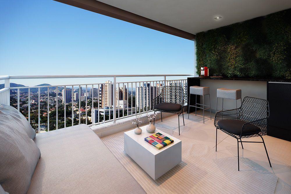 Perspectiva artística do Terraço - ref. ao apartamento de 62m2 privativos. A paisagem não corresponde à realidade.