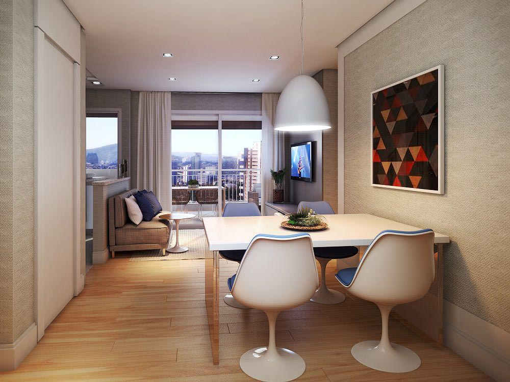 Perspectiva artística do Living padrão – ref. ao apartamento de 79m2 privativos..