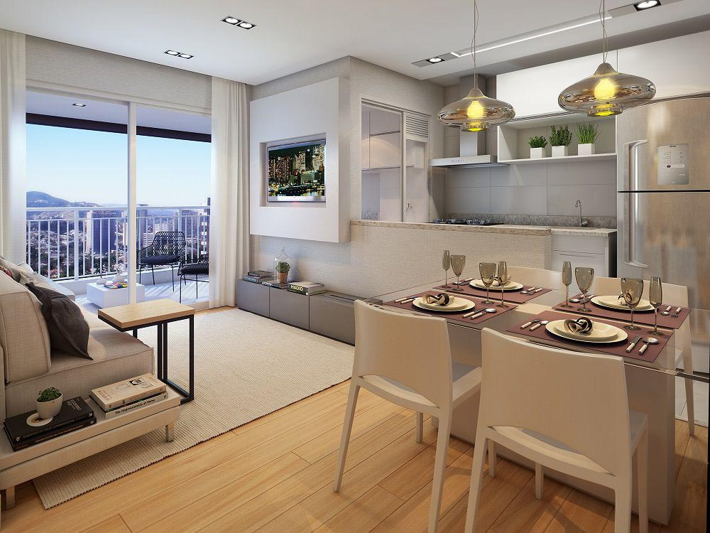 Perspectiva artística do Living padrão – ref. ao apartamento de 62m2 privativos.