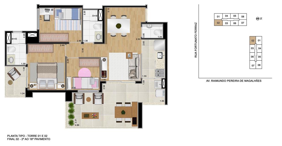 Opção de planta com 3 dormitórios