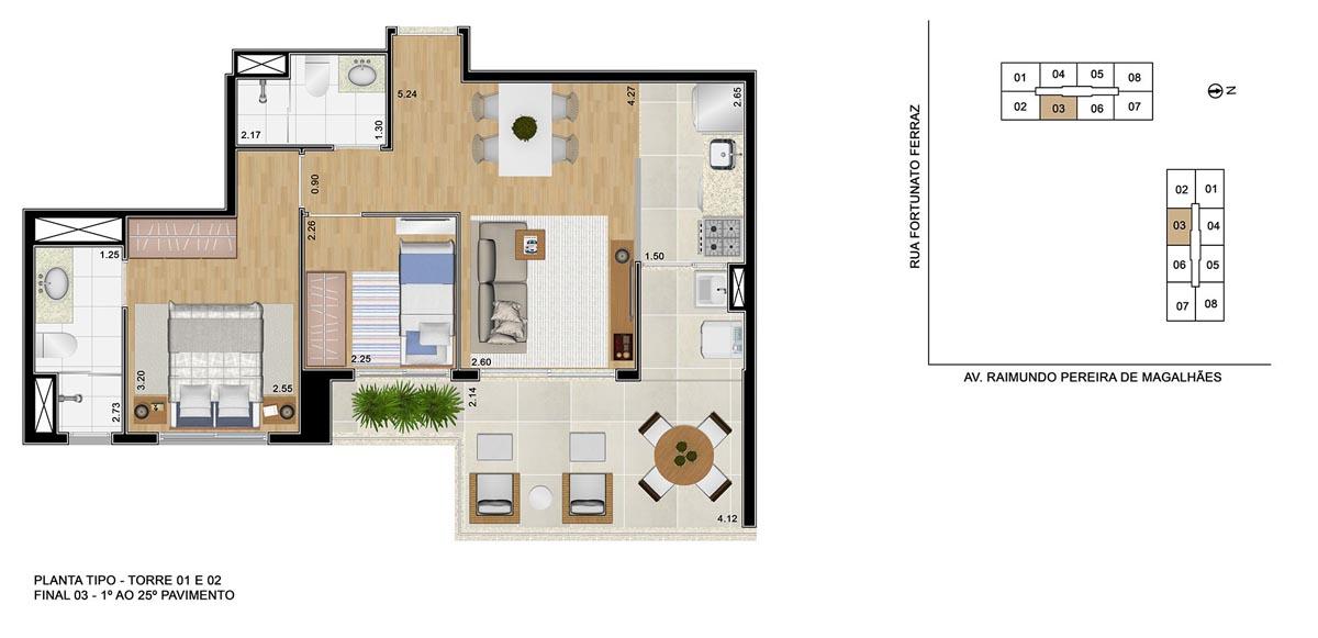Opção de planta com 2 dormitórios