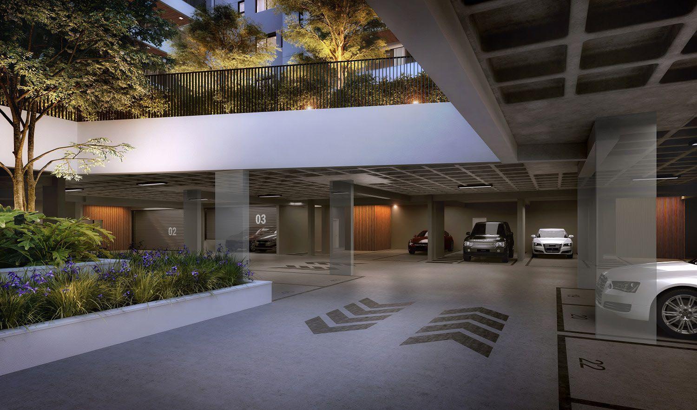 Perspectiva ilustrada Garagem Pavimento Casa Duplex.
