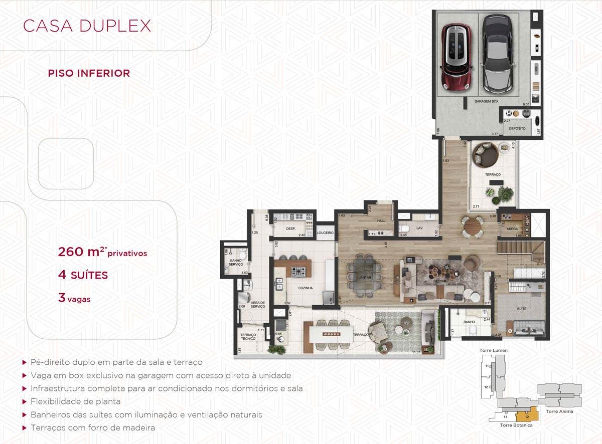 Casa Duplex 260m² priv.(Piso Inferior)