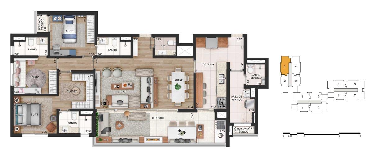 Apartamento 142m² privativos - 3 suítes - 2 ou 3 vagas