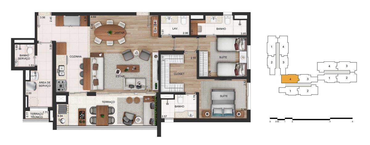 Apartamento 116m² privativos - 2 suítes - 2 vagas