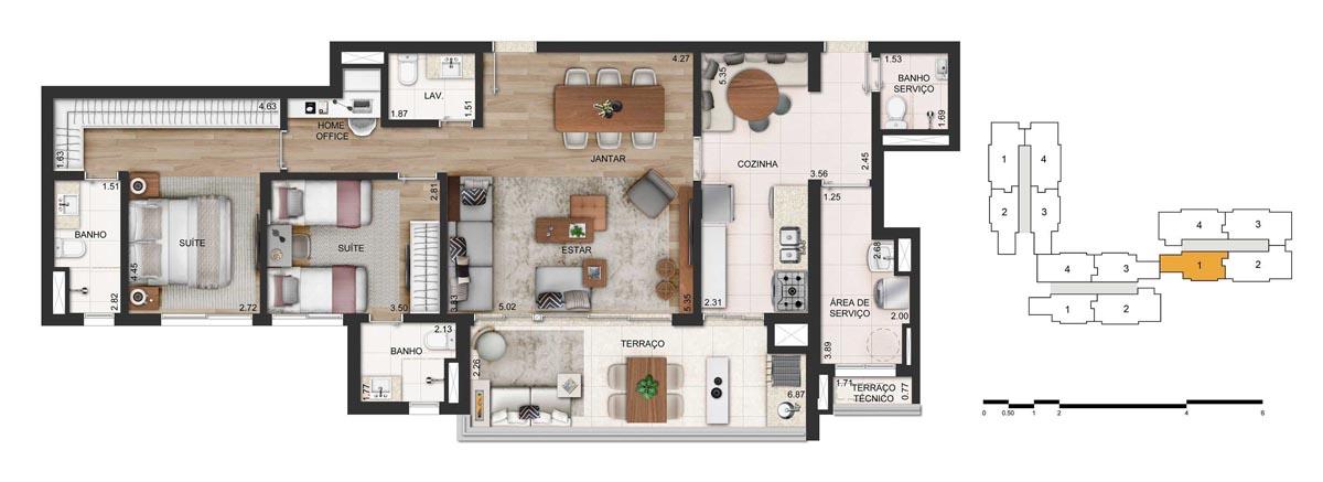 Apartamento 116m² privativos - 2 suítes - 2 vagas (final 1)