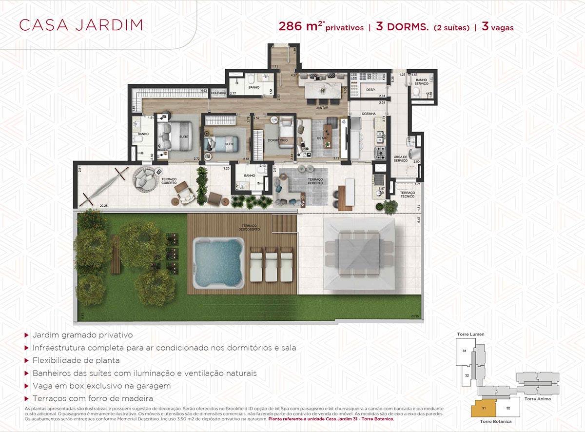 Casa Jardim de 286m² priv. - 3 dorms. (2 suítes) - 3 vagas