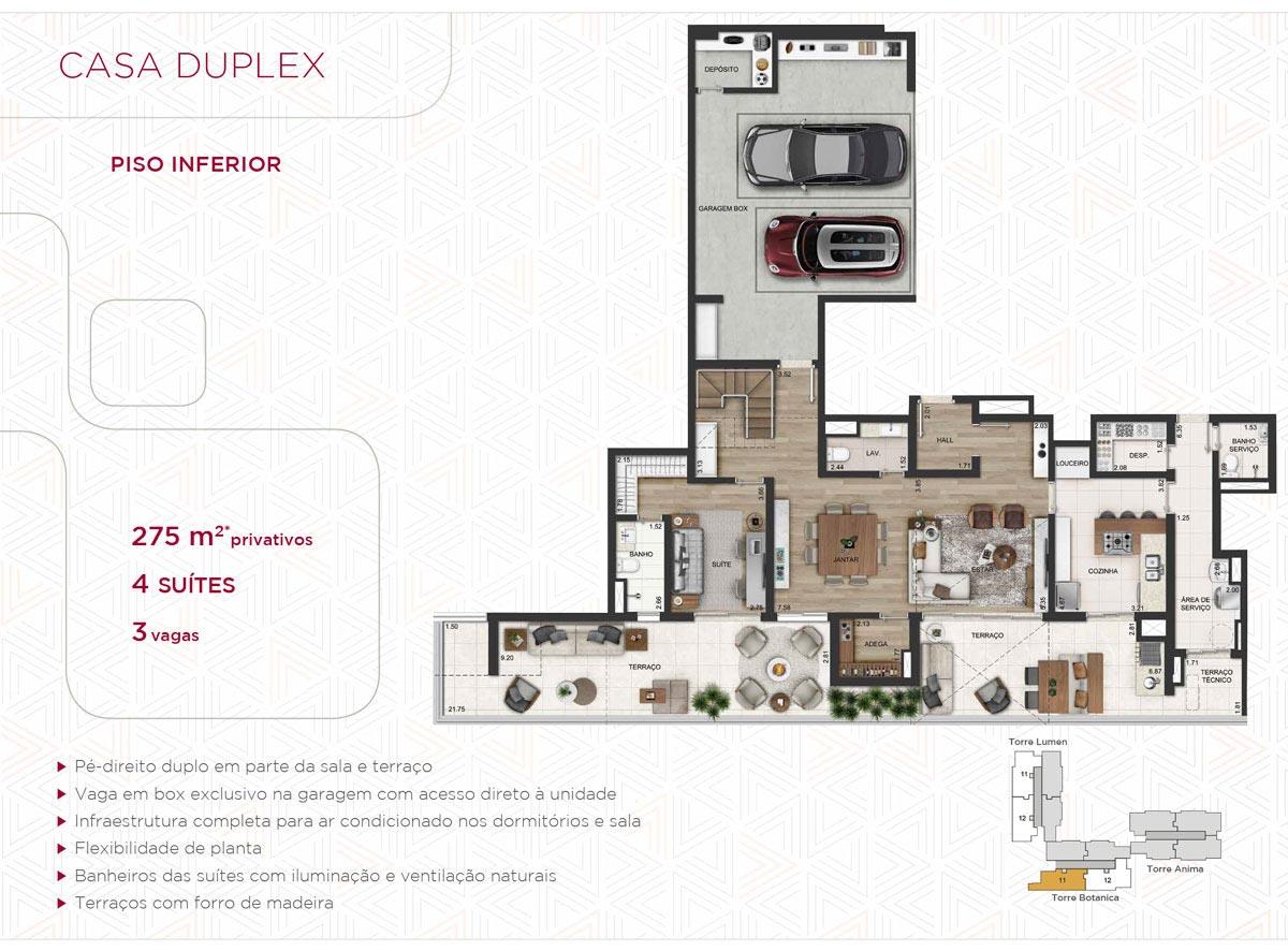 Casa Duplex 275m² priv.(Piso Inferior)