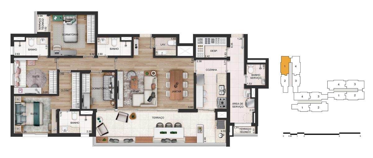 Apartamento 142m² privativos - 4 dorms. (2 suítes) - 2 ou 3 vagas