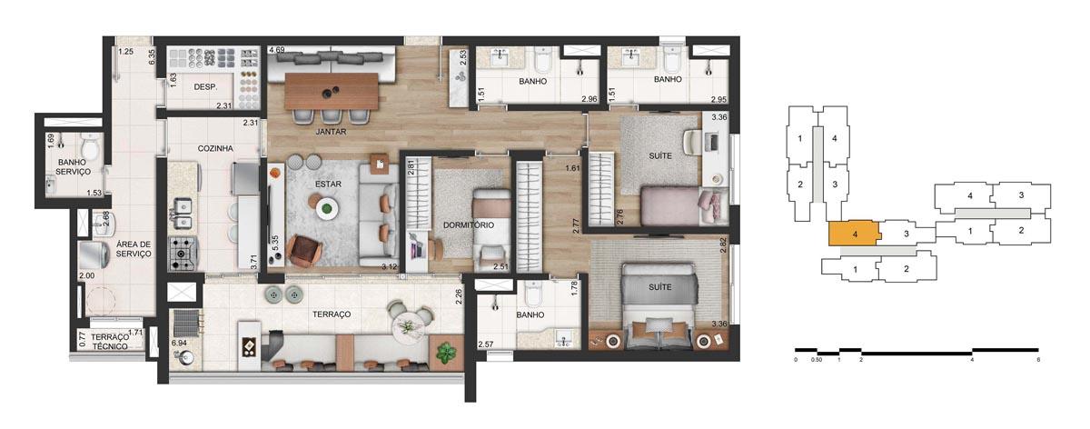 Apartamento 116m² privativos - 3 dorms. (2 suítes) - 2 vagas. (final 4)