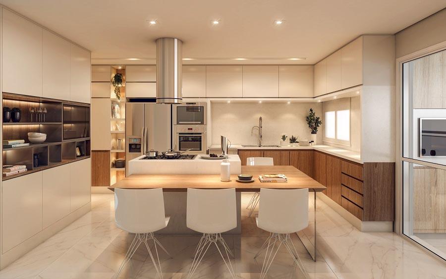 Perspectiva ilustrada do Apartamento Decorado - Cozinha.