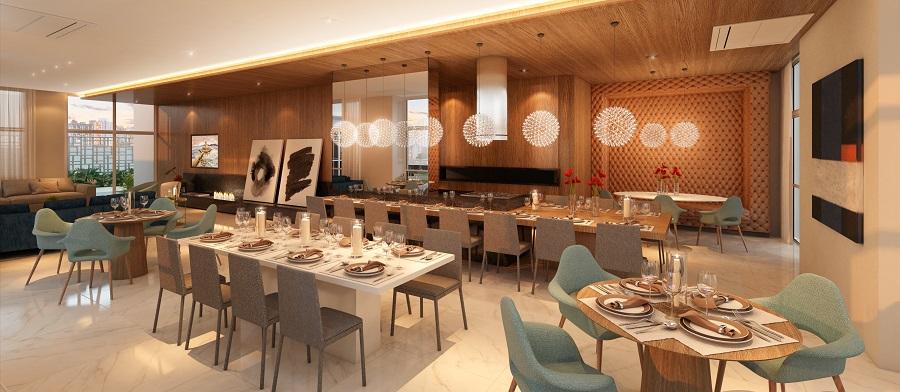 Perspectiva ilustrada do Salão de Festas Gourmet.