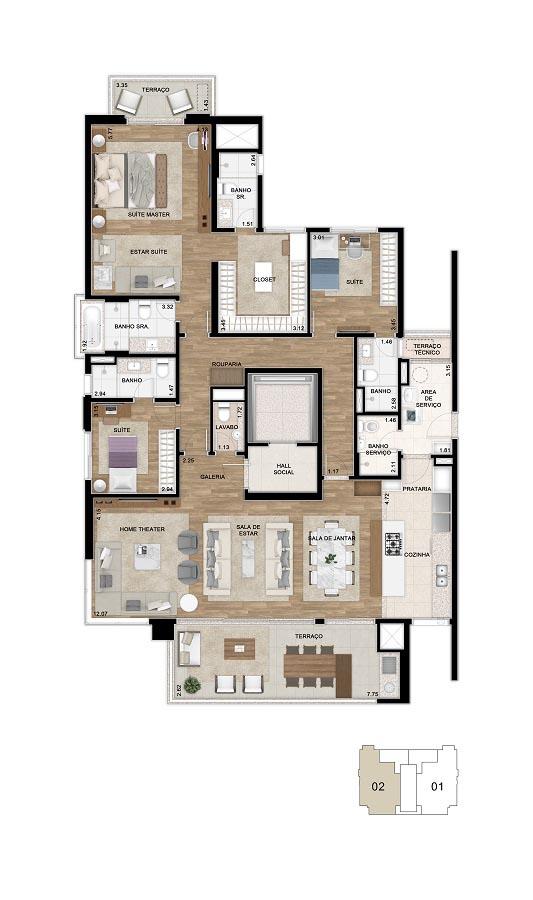 Planta do apartamento de 200m²*. Cozinha aberta e suíte máster ampliada. *Área total privativa, com a inclusão do m2 referente ao depósito situado no subsolo e do Hall de entrada de cada unidade.