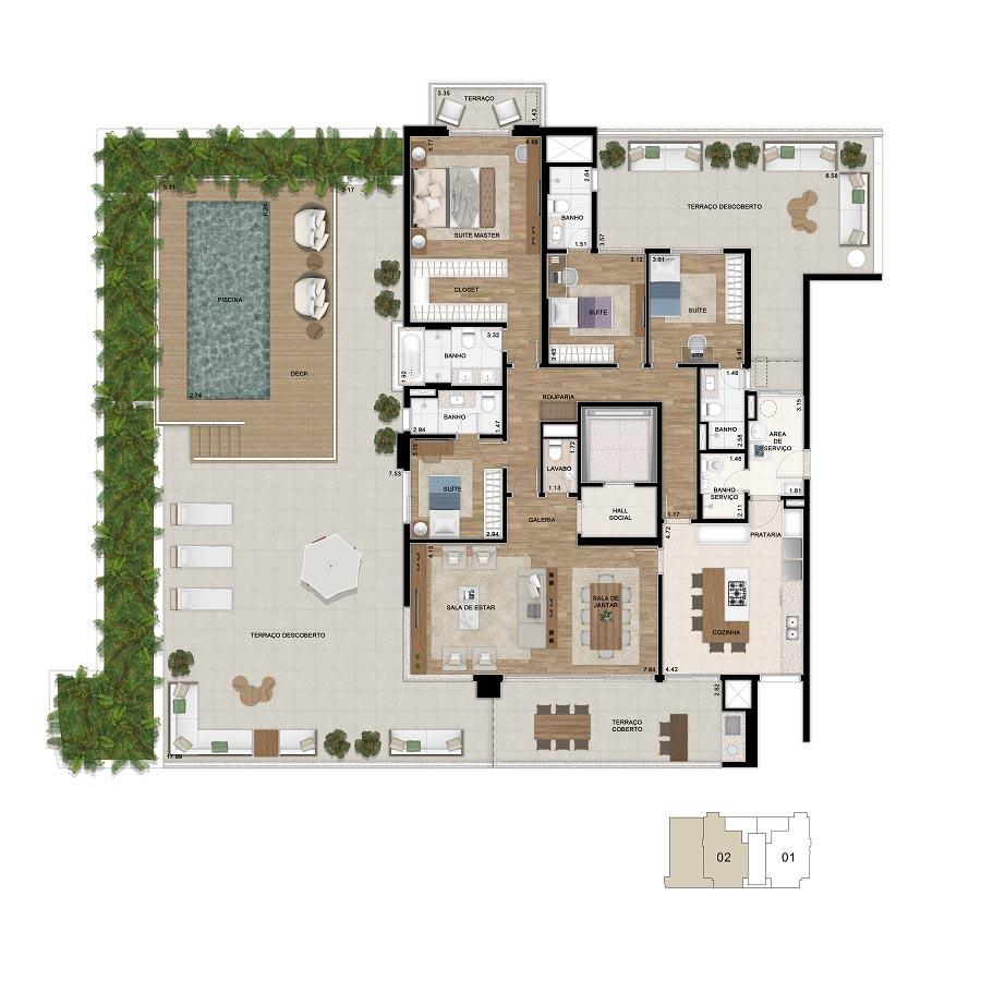 Planta do Giardino de 425m². *Área total privativa, com a inclusão do m² referente ao depósito situado no subsolo e do Hall de entrada de cada unidade.