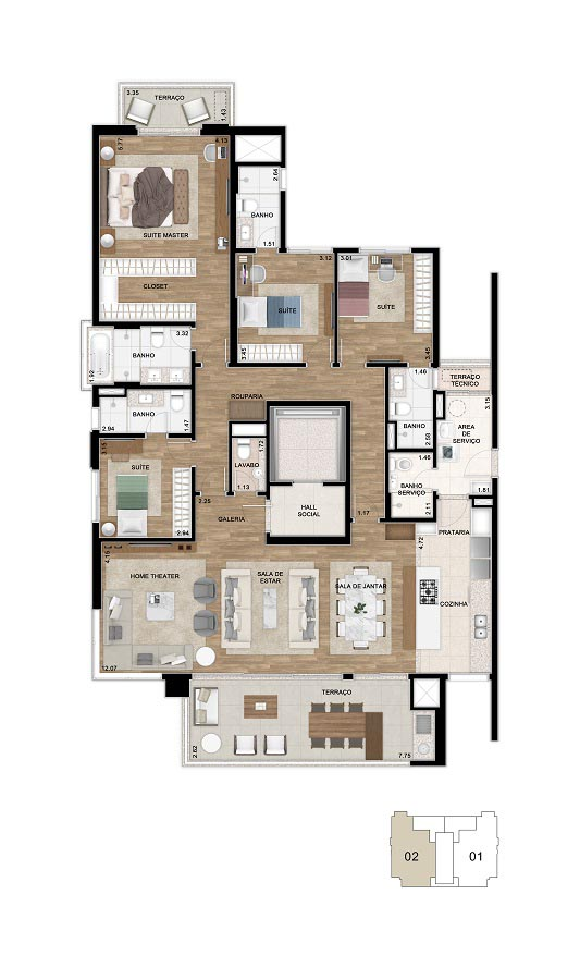 Planta do apartamento de 200m² cozinha aberta. *Área total privativa, com a inclusão do m² referente ao depósito situado no subsolo e do Hall de entrada de cada unidade.