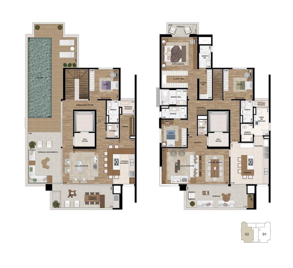 Planta do Duplex de 387m². *Área total privativa, com a inclusão do m2 referente ao depósito situado no subsolo e do Hall de entrada de cada unidade.