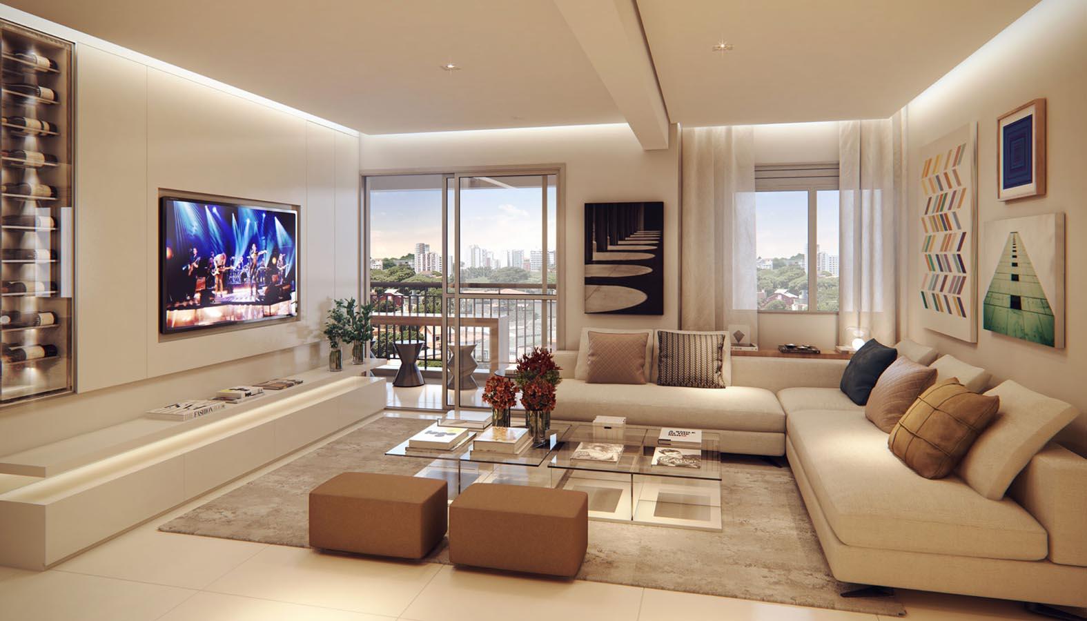 Perspectiva ilustrada do living Ampliado do Apto. Decorado de 76 m², sujeita a alteração.