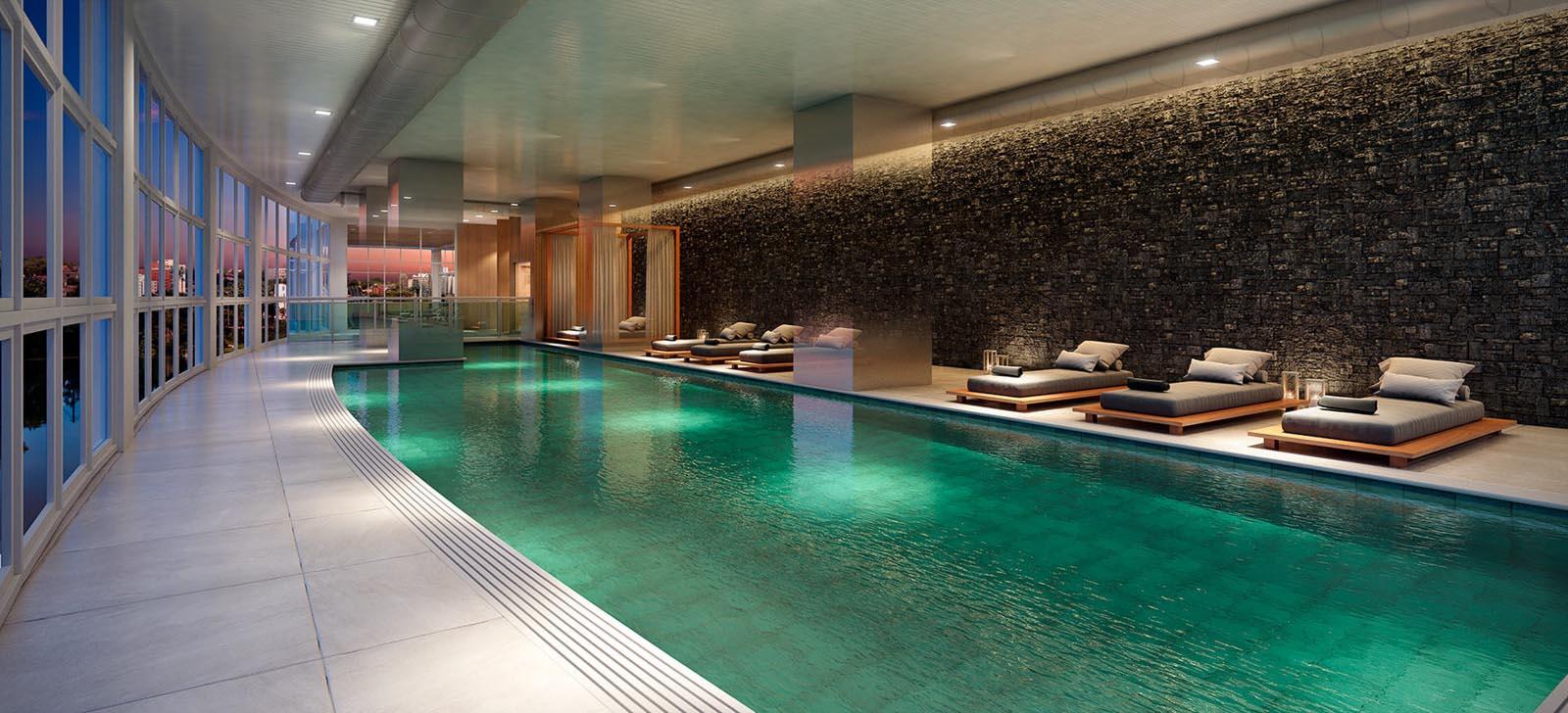 Perspectiva ilustrada da piscina coberta.