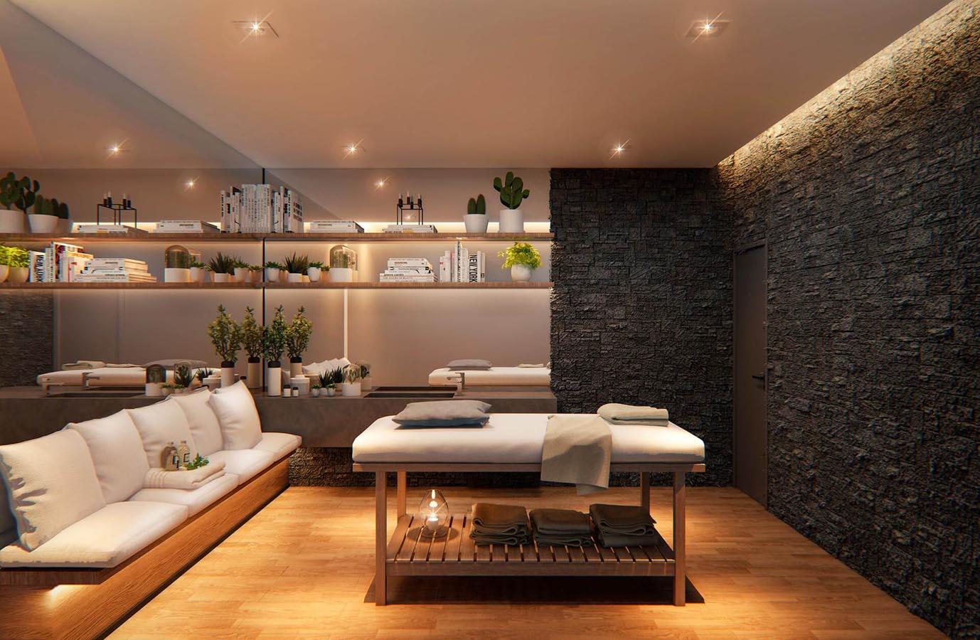Perspectiva ilustrada da sala de massagem.