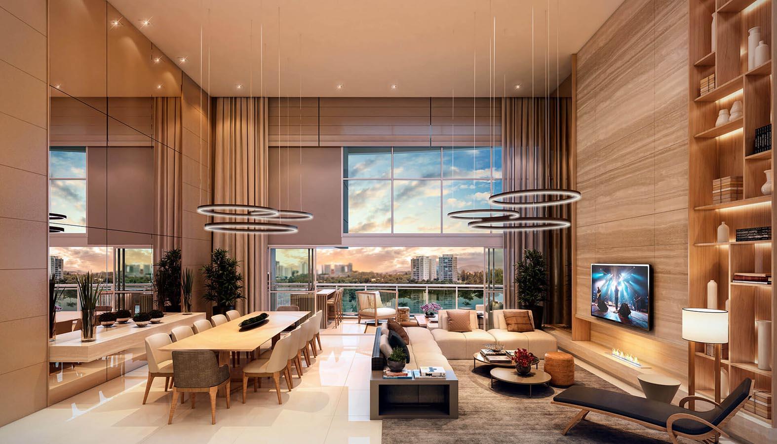 Perspectiva ilustrada do living do apartamento decorado (pavimento par) com pé-direito duplo.