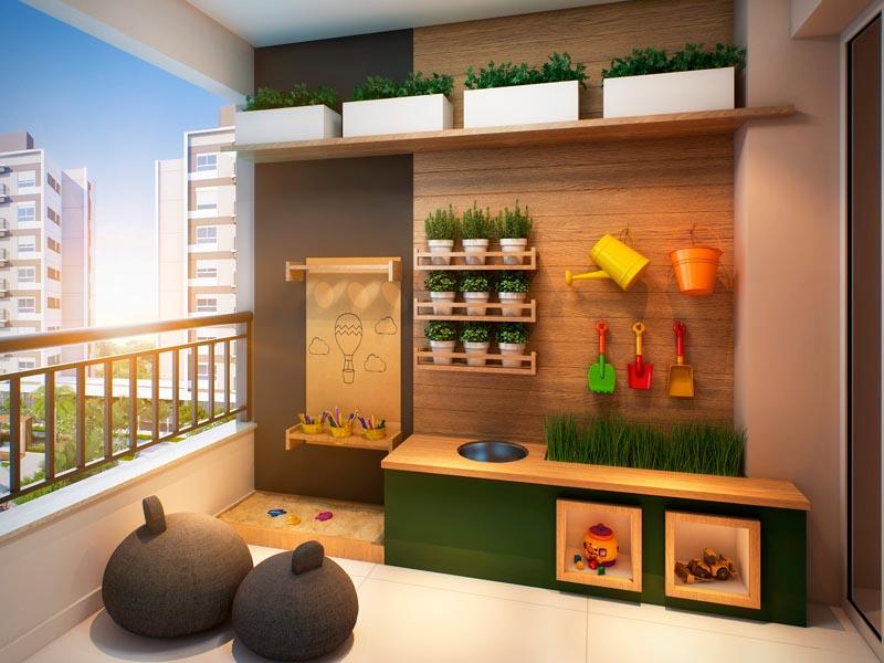 Perspectiva Ilustrada do Quintal do Apartamento de 100 m² -  Brinquedoteca