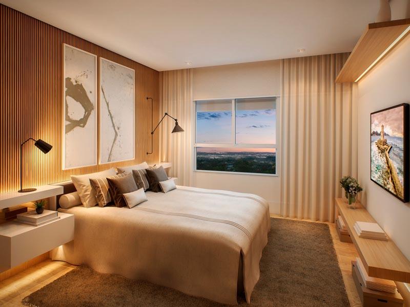 Perspectiva Ilustrada da suíte casal do apartamento de 127 m²