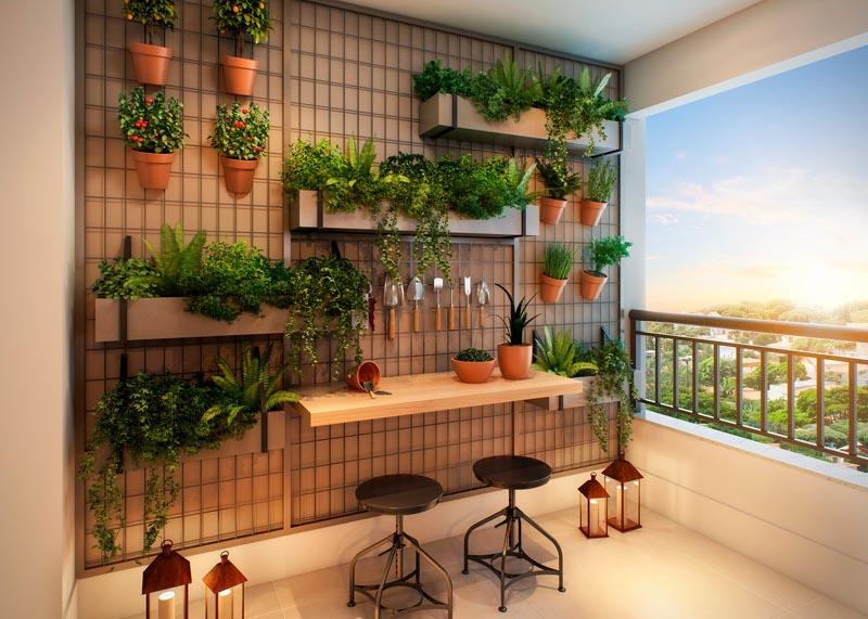 Perspectiva Ilustrada do Quintal do Apartamento de 127 m²