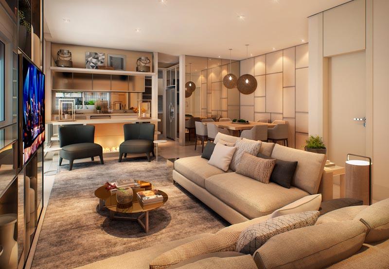 Perspectiva Ilustrada do Living do apartamento de 127 m²