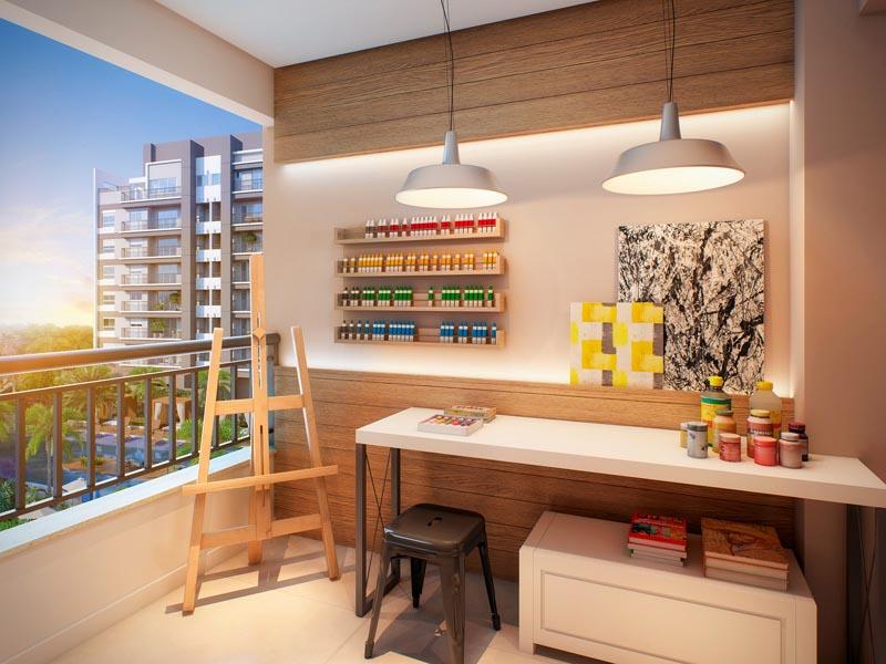 Perspectiva Ilustrada do Quintal do Apartamento de 100 m² -  Atelier
