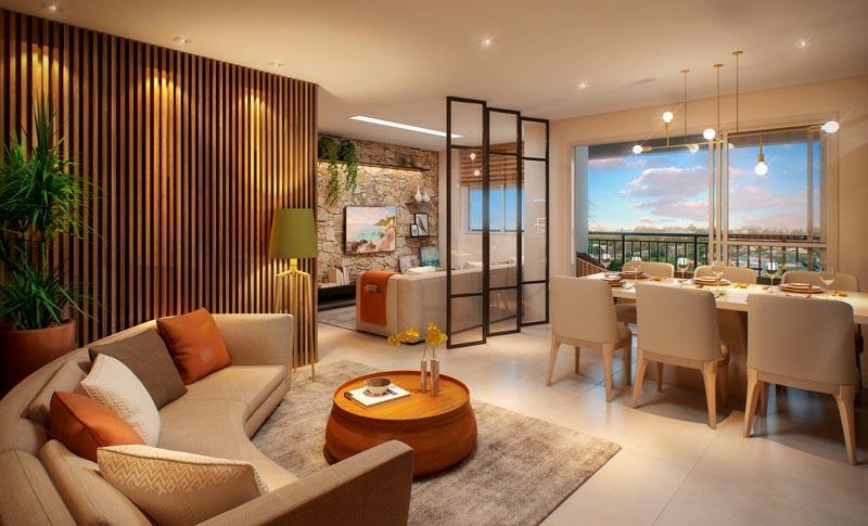 Perspectiva Ilustrada do Living do apartamento de 100 m²