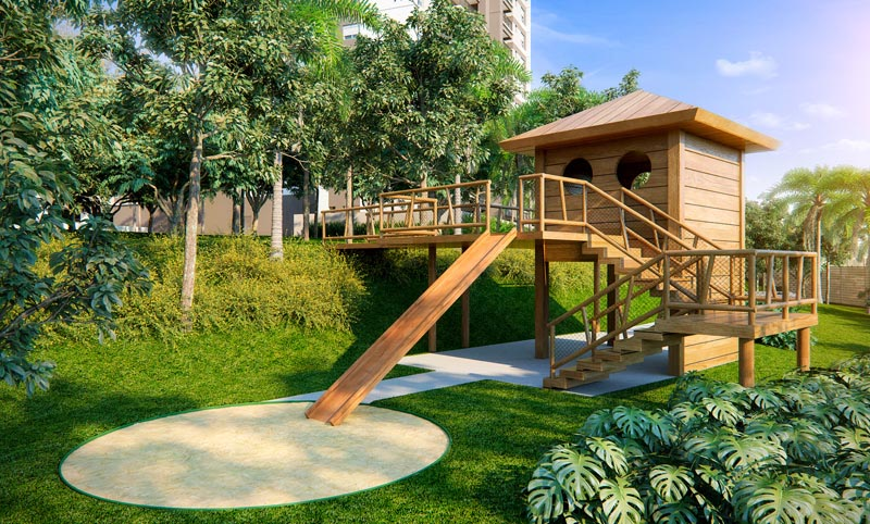 Perspectiva Ilustrada Externa da Casa na Árvore