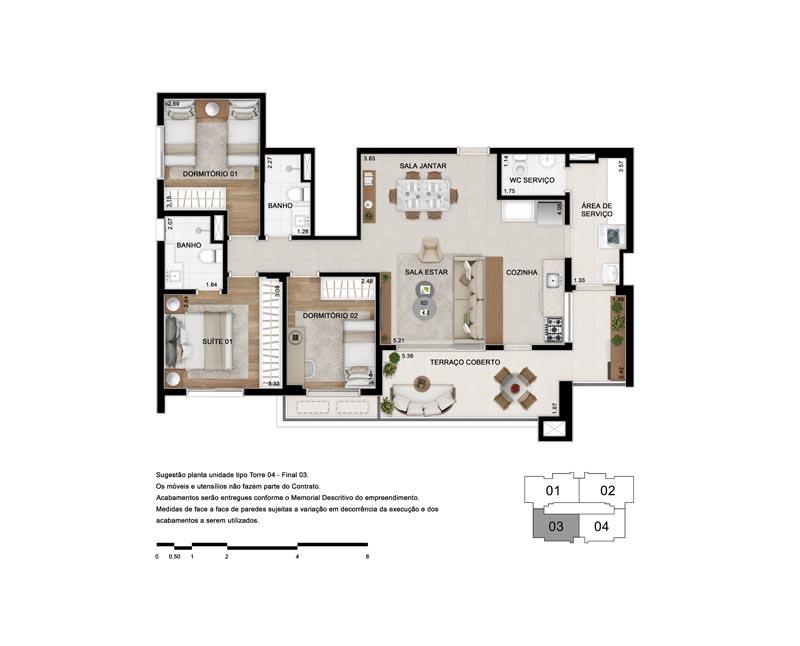 Planta de 103 m² - Opção 3