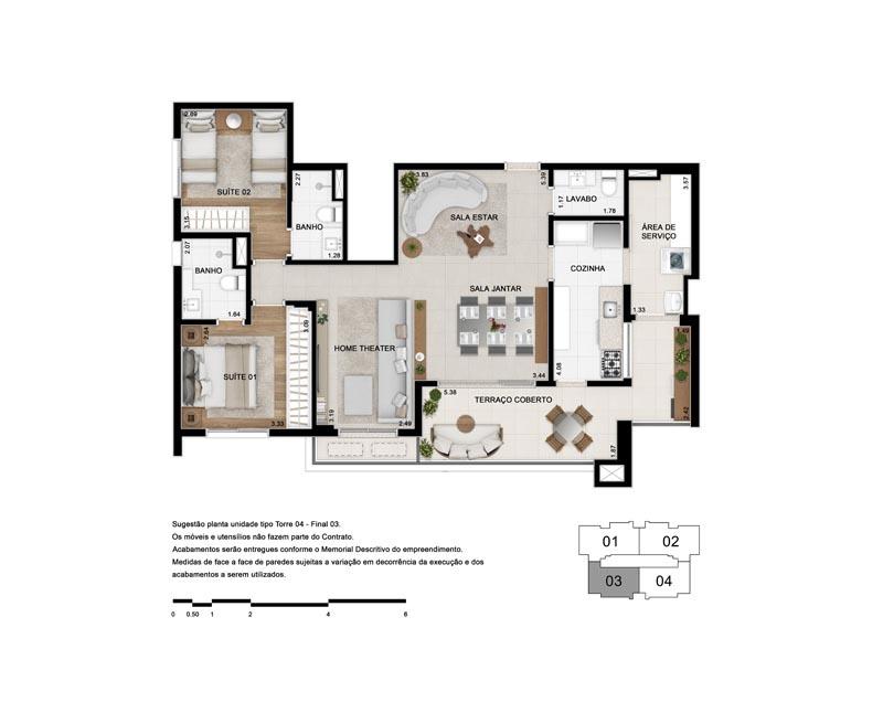 Planta de 103 m² - Opção 4