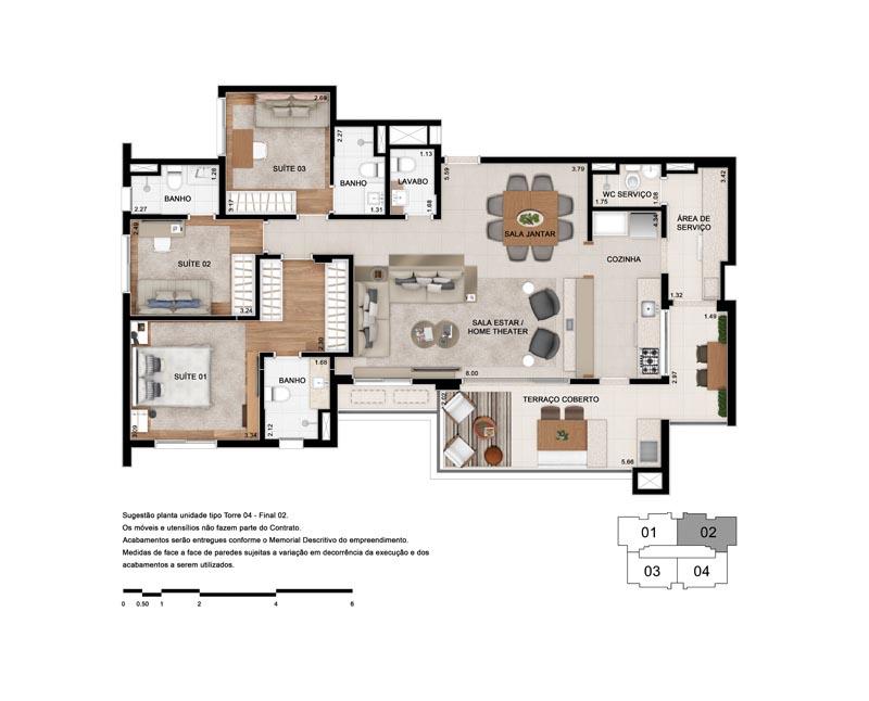 Planta Tipo 130 m² - Opção 3