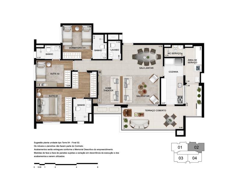 Planta Tipo 130 m² - Opção 2