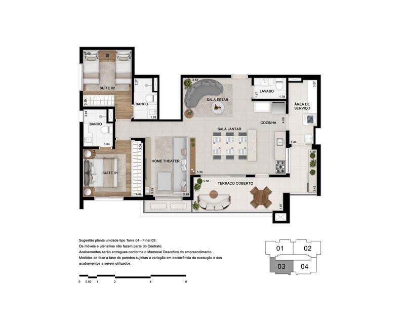 Planta de 103 m² - Opção 5