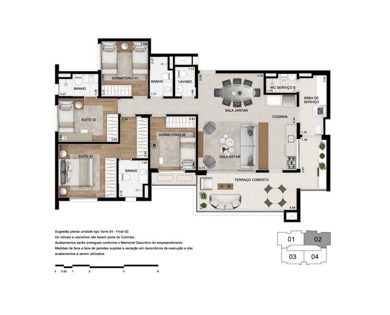 Planta Tipo 130 m² - Opção 1