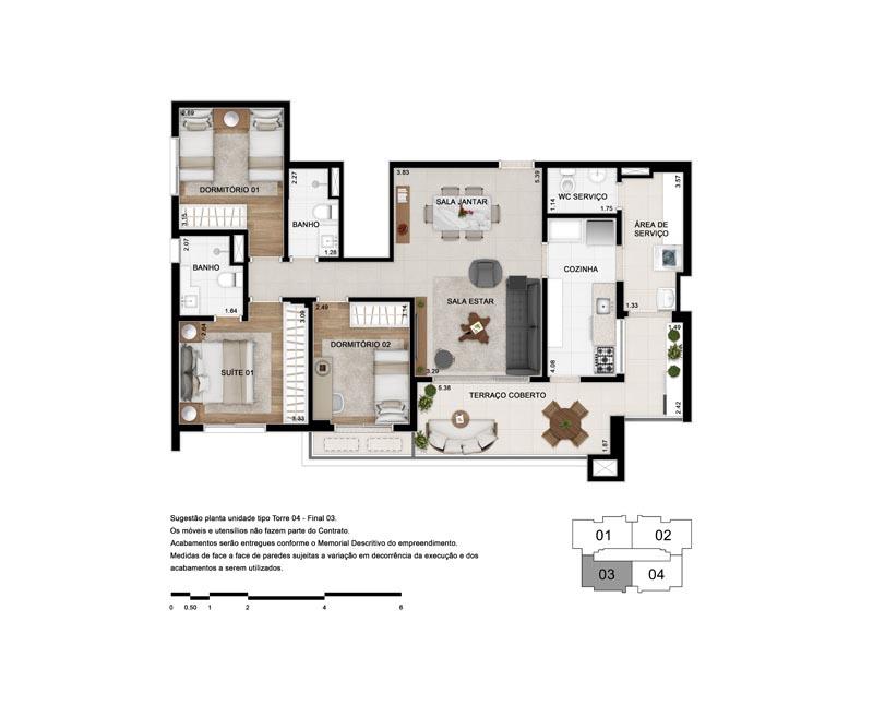 Planta de 103 m² - Opção 2