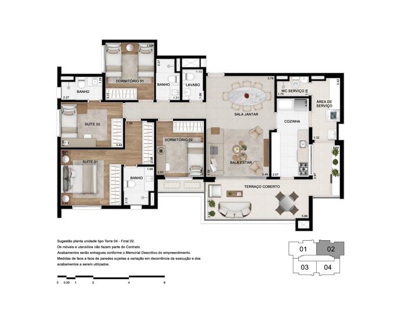 Planta Tipo 130 m²