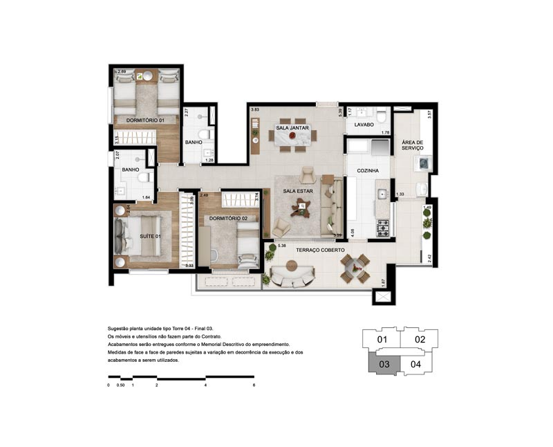 Planta Tipo 103 m²